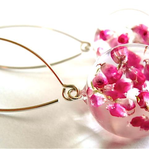 kolczyki artystyczne Rose Belle kwiatami wrzośca